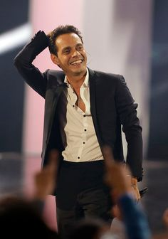 Marc Anthony smiles after performing during the Latin Billboard Awards.