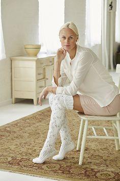 Thigh-High Stockings pattern by Senja Jarva Lace Socks, Crochet Socks, Knitting Socks, Crochet Lace, Knit Stockings, Stocking Tights, Thigh High Socks, Thigh Highs, Leg Warmers Outfit