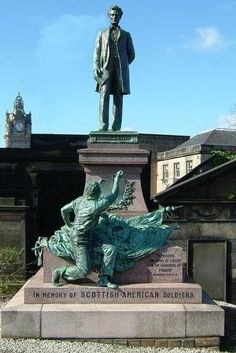 In Old Calton Cemetery in Edinburgh, Scotland, stands Lincoln's tall, imposing figure on a large base, approximately tall American Presidents, American Soldiers, American Civil War, Historical Photos, Great Britain, Castle, Around The Worlds, Edinburgh Scotland, Memories
