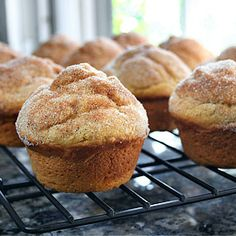 Pumpkin Doughnut Muffins *These were tasty. But I thought that all the extra steps of separate bowls to be quite a pain. This is a very stiff batter for muffins, IMHO.*