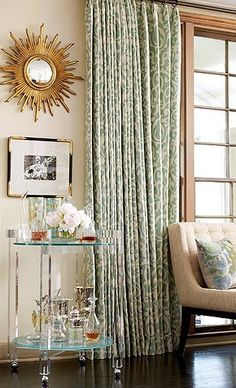 drapery, see how the intricate pattern isn't as obvious when on the window? really just turns into color and texture.