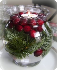 Cranberry floating candle holiday centerpiece.