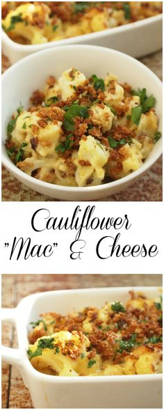 Macaroni and Cheese made from cauliflower instead of pasta give extra fiber and nutrients in a traditional comfort food package