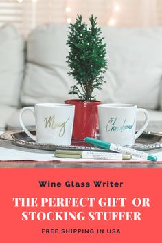 The original Wine Glass Writer to help you keep track of your glass.  Easy cleanup and less wine wasted!  Our writers make dinner parties more colorful and way easier. It's no wonder we're the number one selling wine glass writer in North America! At your next gathering, you and your guests will have a great time showing off your creative skills using our metallic or colored wine glass writing markers all while avoiding inevitable cup mix-ups.