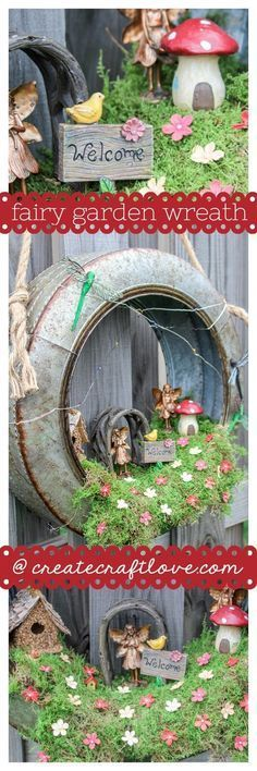 DIY Fairy Garden Wreath. #miniaturefairygardens