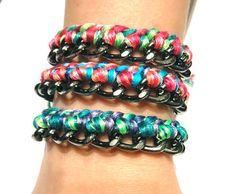 multi-colored braided gunmetal chain stacking bracelet with toggle clasp