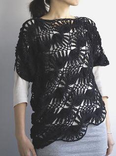 Ravelry: Hairpin lace drape sweater/ヘアピンレースのドレープセーター pattern by CRESUS