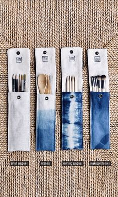 For utensils (cut down on single-use plastic), artist supplies, knitting needles, makeup brushes. Diy Sewing Projects, Crochet Projects, Sewing Crafts, Shibori, Natural Dye Fabric, Natural Dyeing, Artist Supplies, Creation Couture, Fabric Bags