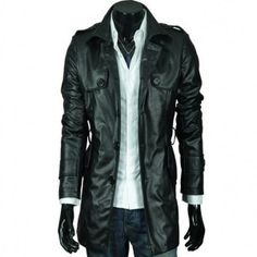 geniun leather of lamb skin Clothing Length: Long Collar: Turn-down Collar Sleeve Length: Full Cuff Style: Conventional Feature: Anti. Mens Leather Coats, Long Leather Coat, Men's Leather Jacket, Leather Jackets, Cowhide Leather, Urban Fashion, Fitness Fashion, Motorcycle Jacket, Casual