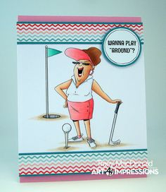 Art Impressions Rubber Stamps: Ai Work and Play: 4902 – Par-Tee Golfers Set. Handmade golf sports card. Wanna Play Around?