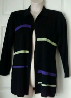 Exclusively Misook Jacket Black Purple/Lime Stripes Large Open Front Collar  #Misook #BasicJacket