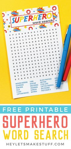 Celebrate your favorite masked men and women with this fun printable superhero word search! Find all your favorite superheroes—it's perfect for kids, adults, teachers and students and anyone else who wants to save the day! Super Hero Activities, Super Hero Games, Fun Activities For Kids, Diy Crafts For Kids, Kids Diy, Class Activities, Preschool Crafts, Superhero Games For Kids, Batman Free