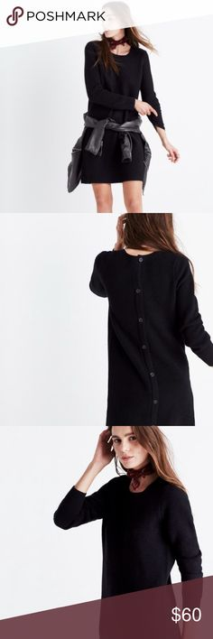 """Madewell Buttonback Dress Buttonback Dress in black from Madewell.  Size Large in excellent condition. Merino wool, dry clean.  34"""" from shoulder to Hem. Madewell Dresses Mini"""