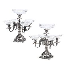 A Pair of Reed & Barton Silverplate Candelabra / Epergnes