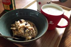 Breakfast- boiled rice, almond, and raisins in milk and cheese served with banana smoothie :)