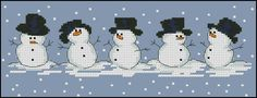 Free cross-stitch pattern Snowmen Fabric: Aida 14, Blue 127w X 46h Stitches Size(s): 14 Count, 23.04w X 8.35h cm