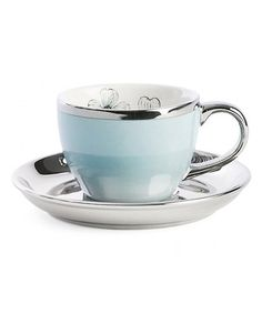 Take a look at this Gold & Turquoise Ceramic Espresso Cup & Saucer by Miss Etoile on #zulily today!