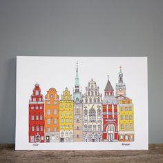 Stockholm Print -  Cityscape A4 Illustration -  Scandinavian Print