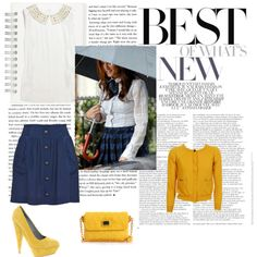 Recreating Leighton Meester's preppy look with a yellow cardigan, blue shirt with gold buttons, yellow pumpkin pumps, and a yellow purse