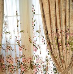 Good Quality Luxurious Chenille Floral Embroidered Window Curtains Panel   #WD