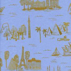 Les Fleurs by Rifle Paper Co. City Toile Cotton Lawn Pale Blue (Metallic)