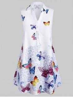 Plus Size Sleeveless Longline Butterfly Print Graphic Blouse Plus Size Blouses, Plus Size Tops, Plus Size Women, Shirt Collar Styles, Blouse Styles, Fashion Seasons, Long Blouse, Sleeveless Blouse, Printed Blouse
