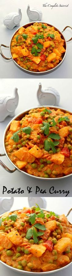 (Use soy cream) Potato and Pea Curry ~ Fragrant Indian spices enhance a creamy tomato sauce filled with luscious golden potatoes and sweet peas~ The Complete Savorist