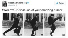 Germans reveal why they still 'Love UK' Tweet saying somebody loves the UK because of Monty Python silly walks