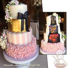 "Design W 0799 | Fondant Wedding Cake | 12""+10""+ 8""+ 6"" | Serves 120 | Fondant Cover, Blush Pink Ruffles, Fondant Stripes, Gold Foil, Comic Book Character Wedding | Custom Quote"