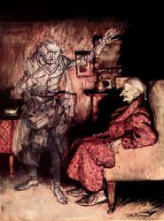 "The colour illustrations by Arthur Rackham for  the First Edition of ""A Christmas Carol"" (1915) -- '''How now?'' said Scrooge, caustic and cold as ever. ''What do you want with me?'''"