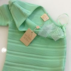 """Mint Green Kat Dress A sultry one-shoulder fitted dress finished with ribbed stripes One short sleeve Side zip closure About 18"""" from natural waist Viscose/nylon Hand wash Imported Torn by Ronny Kobo Dresses"""
