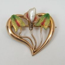 Art Nouveau 10K Gold Enameled Calla Lily Pin/Brooch on Ruby Lane