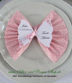 Schmetterlings-Tischkarten mit Druck + Punkte Servietten rosa kaufen