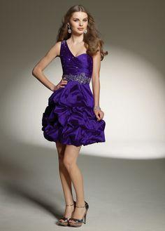 Stunning Taffeta A-line One Shoulder Short Prom Dress With Pick-up Skirt at ShopSimple.com