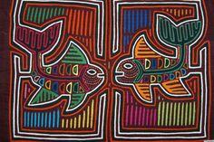 Kuna Mola Hand stitched Applique Textile Folk Art Ocean Fish Mirror Imag