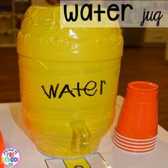 DIY water jug for a Construction site dramatic play perfect for preschool, pre-k, and kindergarten. #constructiontheme #preschool #prek #dramaticplay