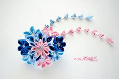 Tsumami Kanzashi Wedding Fabric Flower Hair Comb Blue and Pink Wedding Accessories