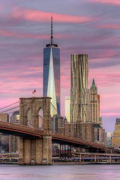 Brooklyn Bridge / One World Trade Center / New York Empire State Building, Teatro Da Broadway, Photographie New York, New York City, World Trade Center Site, Ville New York, Lower Manhattan, Dream City, Concrete Jungle