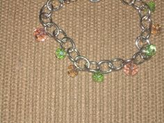 Chain Bracelet w/ peach and green rondell