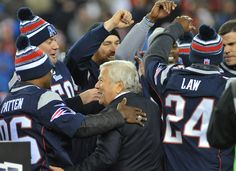 Patriots owner Robert Kraft celebrates with 17 members of the team to have won all three Super Bowl games during a halftime ceremony Nov. 2. #football #Patriots #NEPats
