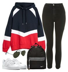 """Untitled #2440"" by oliviaswardrobe ❤ liked on Polyvore featuring Topshop, H&M, NIKE and Ray-Ban #comfystyle"