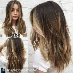 Contoured Layers Behindthechair com Hair contouring, Balayage hair, Balayage brunette to blonde, Med Balayage Brunette To Blonde, Brown Blonde Hair, Brunette Hair, Balayage Hair, Blonde Streaks, Sunkissed Hair Brunette, Purple Hair Streaks, Brunette With Blonde Highlights, Medium Blonde