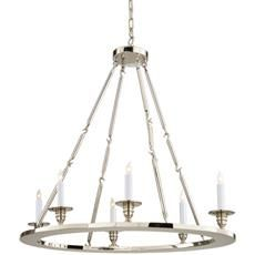 Chart House 6 Light Oval Flat Line Chandelier in Polished Nickel