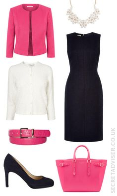 Navy dress with bright pink accessories outfit idea