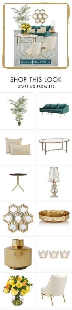 """Gold Vo2"" by qqamrah on Polyvore featuring interior, interiors, interior design, home, home decor, interior decorating, Safavieh, Jayson Home, Eichholtz and Arteriors"