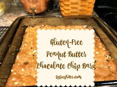 Whether youhave to eat Gluten-free, or you just love a good peanut butter-chocolate chip bar, this recipe is going to make your stomach smile! There's no butter in these bars, but the peanu…