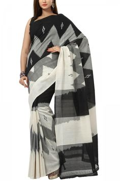 Charcoal Black & Beige Cotton Ikat Saree