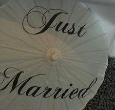 Just married paper wedding umbrella.  City Beach wedding expo Wollongong