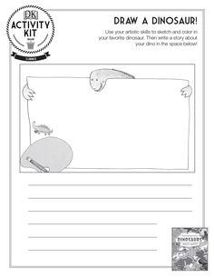 Draw a Dinosaur activity sheet- great idea for a writing prompt!