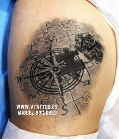 As the member of steampunk or biomechanical tattoo family, compass tattoo is appealing for its variety of designs and unique position in the history. Puzzle Tattoos, Map Tattoos, Foot Tattoos, Tatoos, Watercolor Compass Tattoo, Compass And Map Tattoo, Compass Tattoo Design, Traditional Compass Tattoo, Karten Tattoos
